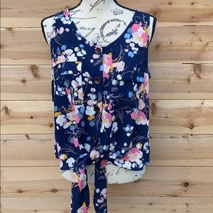 a.n.a Floral Button down Tank Top with tie waist